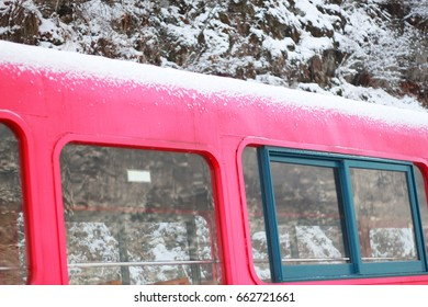 Snow on train roof