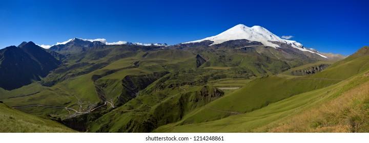 Snow on two peaks of Mount Elbrus. North Caucasus in Russia.