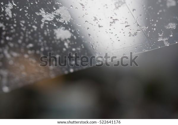 snow on umbrella