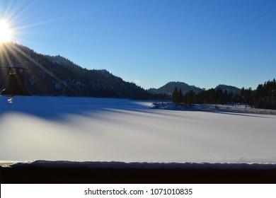 Snow On Wannacut Lake in Okanogan County Washington