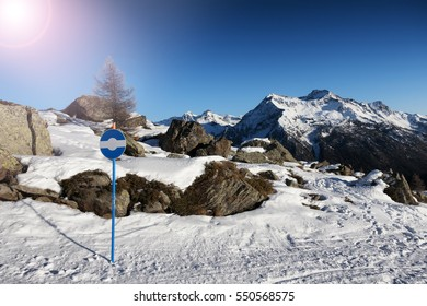 snow path in mountain, Valle d'Aosta, Italy