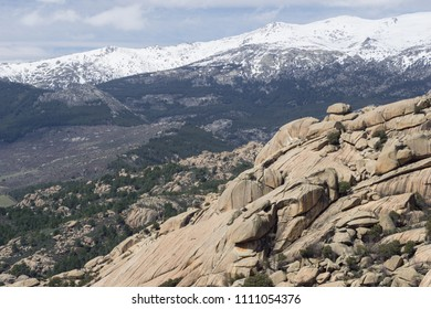 Snow peaks landscape over a rocky place