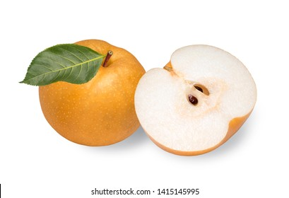 Snow pear or Nashi pear or Feng Shui pear on white background, Korea pear fresh fruit with slices isolated on white background