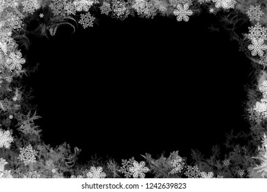 Snow photo frame screen and overlays cold ice falling happy season holiday new year Christmas photo presentation template pattern artwork design idea