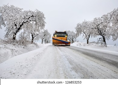 snow plow during maintenance road in winter