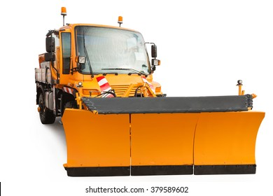 Snow plow removal vehicle isolated on white background with clipping path