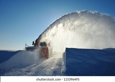 snow plow working