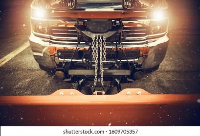 Snow Plowing Truck Preparation For the Season. Snowplow Industrial Theme.