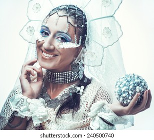 Snow Queen over white background