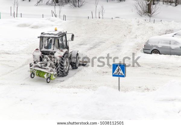 Snow Removal Urban Tractor Snowplow Rotary Stock Photo (Edit