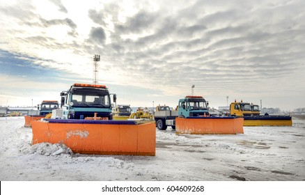 Snow removal vehicles in the airport