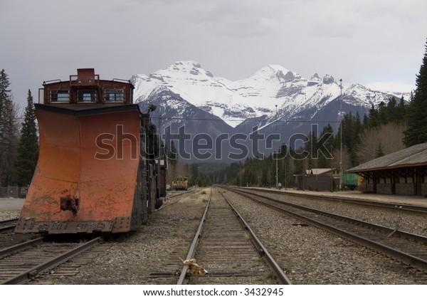 Snow Remover Train in Banff Railway Station