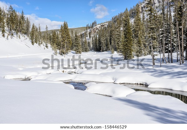 Snow and River in Yellowstone