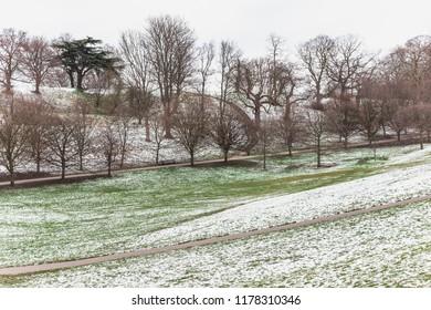 Snow scene in Greenwich Park, London, UK
