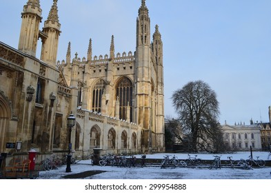 Snow scene outside King's College, Cambridge (3)