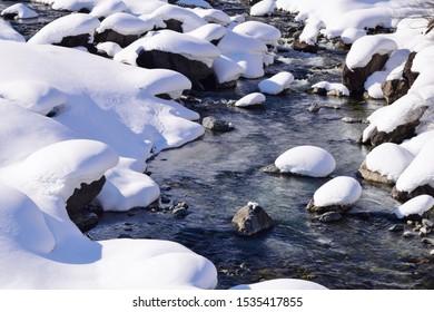 Snow scenery in Hakuba village, Japan