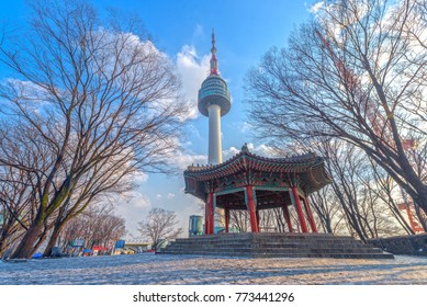 Snow season of Namsan tower at Seoul,South Korea