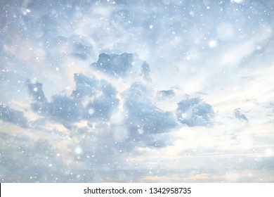 snow sky clouds background abstract / beautiful landscape in the clouds, abstract snowflakes