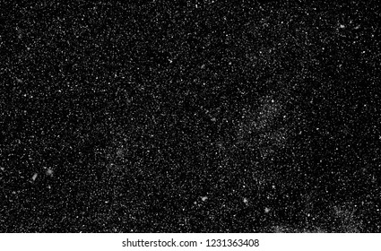 snow, stars, white dots bokeh on black background