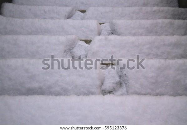 Snow steps into footprints