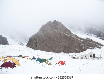Snow storm in the base camp Confluencia, in the Aconcagua National Park. Argentina.