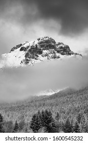 snow storm over Paganella Mountain in Adamello-Brenta National Park, Dolomites, Italy