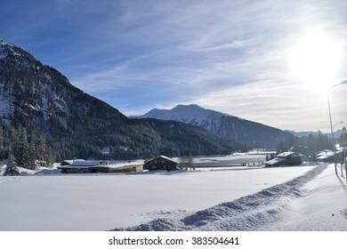 Snow Sunset Mountain