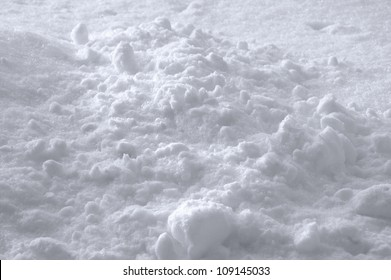 Snow Texture Background, Bright New Fresh Sparkling Drift Heap In Slight White Blue, Detailed Sunny Closeup, Gentle Shadows