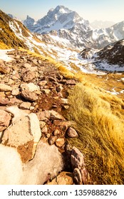 snow that melts in the spring in mountain - season and global warming concept