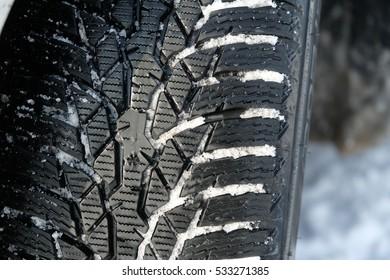 Snow tire in winter