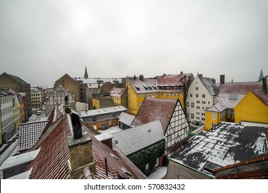 Snow topped rooftops in Christianshavn, Copenhagen