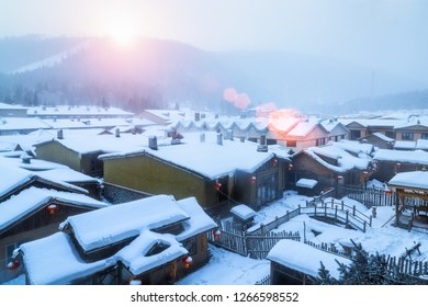 snow township landscape in sunrise, shuangfeng forest farm, heilongjiang province, China