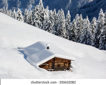 Snow track to the ski chalet