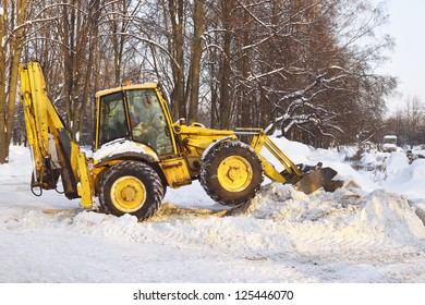 Snow tractor. Russia, Moscow, Park