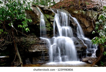 Snow and Waterfall, tributary of the  Back Fork of Elk River, Webster County, West Virginia, USA
