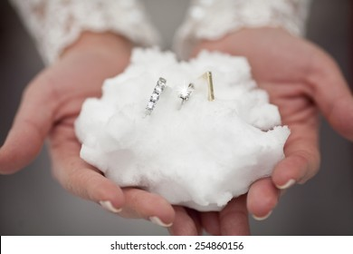 snow and wedding rings