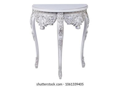 Snow white console table, with silver carving, front view.