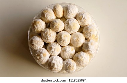 Snow White Cookies or Kue Puteri Salju. Typical delicacy for festive occasions and major holidays, such as Lebaran (Eid ul-Fitr), Natal (Christmas) and Imlek (Chinese New Year).