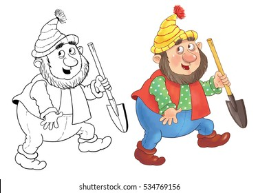 The Snow White. Fairy tale. Cute little dwarf walking. Illustration for children. Coloring book. Coloring page. Funny cartoon character isolated on white background. Illustration for children
