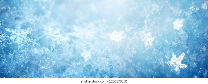 Snow in winter close-up. Macro image of snowflakes, winter background.
