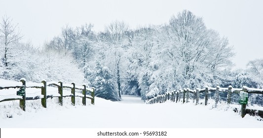 Snow Winter landscape countryside scene with English countryside