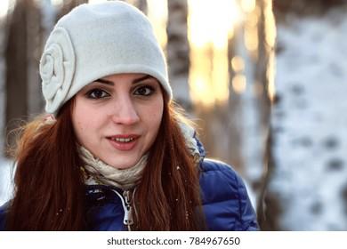 snow winter portrait female outdoor in a park