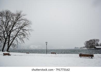 snow winter tegernsee bayern alps