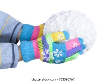 Snowball of white threads in child's hands, clad in colorful gloves isolated on white background, New Year, Christmas