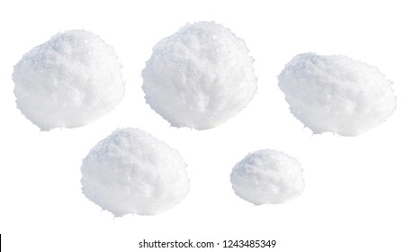 Snowballs or hailstones on a white background, clipping path.