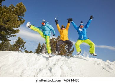 Snowboard people have fun in snow. Winter sport holiday mountains sky resort