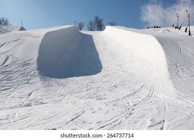 Snowboard Skiing Halfpipe Snow Winter Blue Sky Bluebird Fun Extreme Crazy