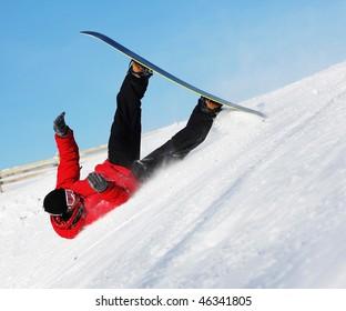 Snowboard sportsmen in fall over clear blue sky