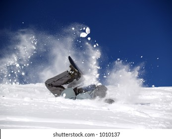 Snowboarder crashed in the snow [2]