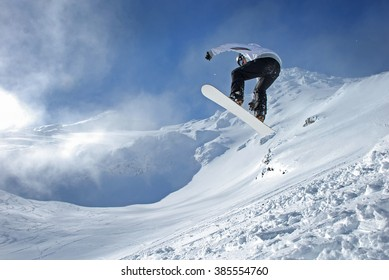 snowboarder getting air
